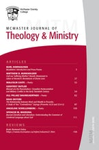 McMaster Journal of Theology and Ministry: Volume 21, 2019–2020